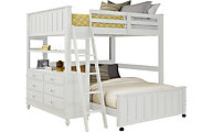 Hillsdale Furniture White Lakehouse Full Loft Bed with Dresser Set