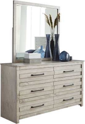 Hillsdale Furniture Villa White Mirror and Dresser Set