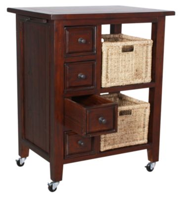 Hillsdale Furniture Tuscan Retreat Kitchen Storage Cart with Baskets