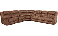 Homestretch Frontier Coffee 3-Piece Power Reclining Sectional