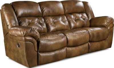 Homestretch Cheyenne Light Brown Leather Reclining Sofa