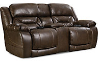 Homestretch Enterprise Brown Power Motion Loveseat w/Console