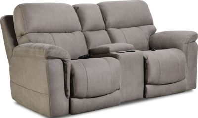 Homestretch Tucson Gray Power Recline Console Loveseat