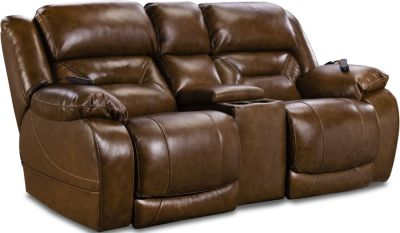 Homestretch Enterprise Leather Power Motion Loveseat