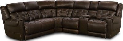 Homestretch Malibu Brown 4-Piece Power Headrest Sectional