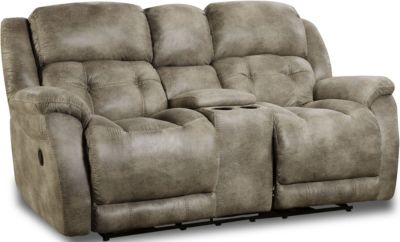 Homestretch Mclean Gray Rocking Console Loveseat