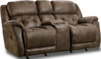 Homestretch Mclean Brown Rocking Console Loveseat