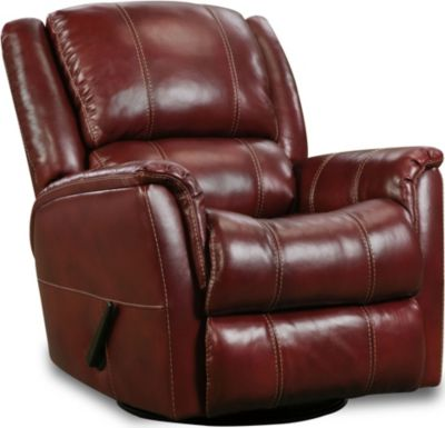 Homestretch Mercury Red Leather Swivel Glider Recliner