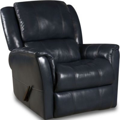 Homestretch Mercury Blue Leather Swivel Glider Recliner