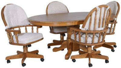 Intercon Classic Oak Table & 4 Caster Chairs