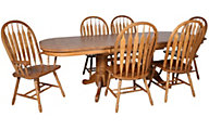 Intercon Classic Oak Trestle Table, 4 Side & 2 Arm Chairs
