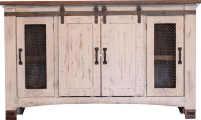 Int'l Furniture Pueblo 60 Inch White Barn Door TV Stand