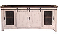 Int'l Furniture Pueblo 70 Inch White Barn Door TV Stand