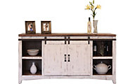 Int'l Furniture Pueblo White 68-Inch Barn Door TV Stand