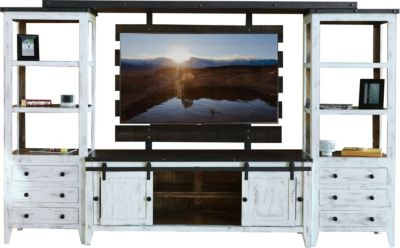 Int'l Furniture Antique Collection Barn Door Entertainment Center