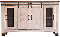 Int'l Furniture Pueblo White 80 Inch Barn Door TV Stand