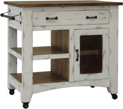 Int'l Furniture Pueblo White Kitchen Mini Island