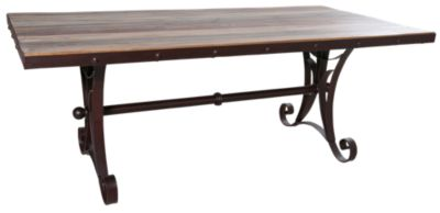 Int'l Furniture Antique Dining Table With Iron Base