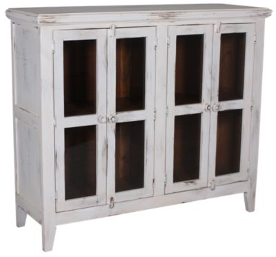 Int'l Furniture Antique White Console with 4 Doors