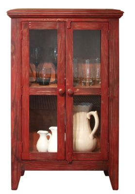 Int'l Furniture Antique Red Console with 2 Doors