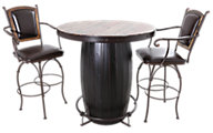 Int'l Furniture Antique Bistro Table & 2 Stools