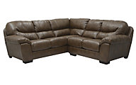Jackson Lawson Chestnut 3-Piece Bonded Leather Sectional