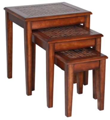 Jofran Baroque Brown Nesting Chairside Tables
