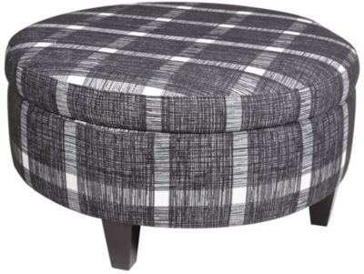 Jonathan Louis Round Plaid Storage Ottoman