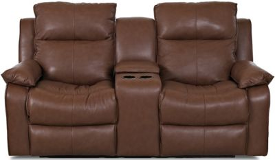 Klaussner Castaway Chocolate Leather Reclining Loveseat