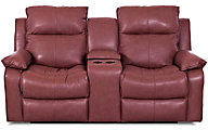 Klaussner Castaway Red Leather Power Reclining Loveseat