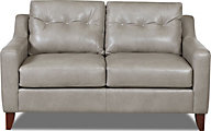 Klaussner Audriana Gray 100% Leather Loveseat