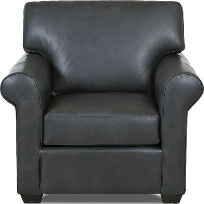 Klaussner Canoy Charcoal 100% Leather Chair