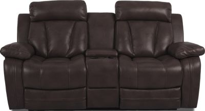 Klaussner Atticus Brown Reclining Loveseat with Console