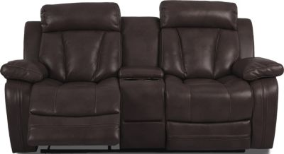 Klaussner Atticus Brown Power Reclining Console Loveseat