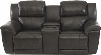 Klaussner Albus Leather Power Recline Console Loveseat