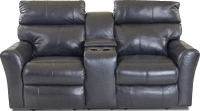 Klaussner Xavier Leather Reclining Console Loveseat