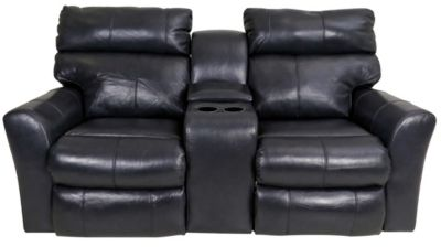Klaussner Xavier Leather Power Recline Console Loveseat