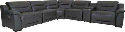 K Motion KM079 6-Piece Leather Power Recline Sectional