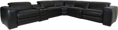 K Motion KM 213 Collection Black 6-Piece Leather Sectional