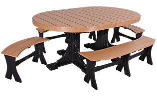 Amish Outdoors Table and 4 Benches