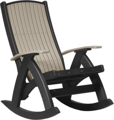 Amish Outdoors Grandpa Comfort Rocker Weatherwood/Black