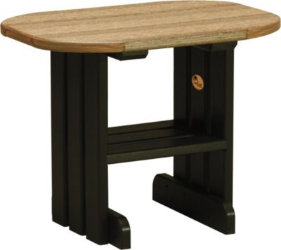 Amish Outdoors Adirondack Deluxe Oval End Table Mahogany/Black