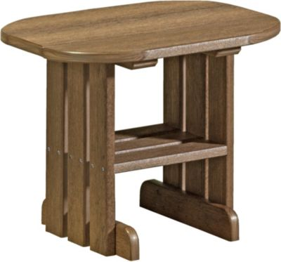 Amish Outdoors Adirondack Deluxe Oval End Table Antique Mahogany