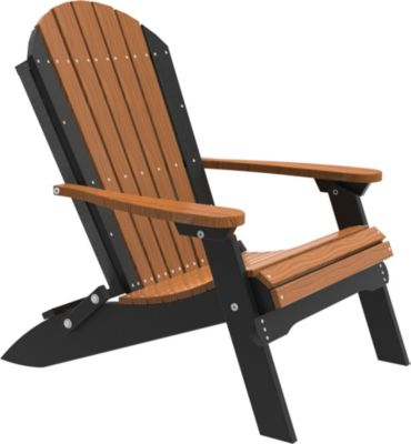 Amish Outdoors Adirondack Folding Chair in Mahogany/Black