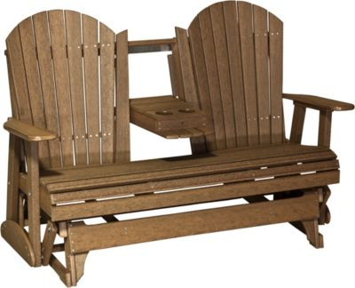 Amish Outdoors Adirondack Deluxe Outdoor Glider Sofa with Console