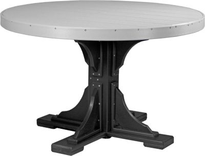Amish Outdoors Gray and Black 4-Foot Round Dining Table