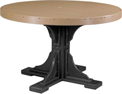 Amish Outdoors Cedar and Black 4-Foot Round Dining Table