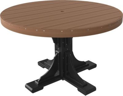 Amish Outdoors Mahogany and Black 4-Foot Round Dining Table