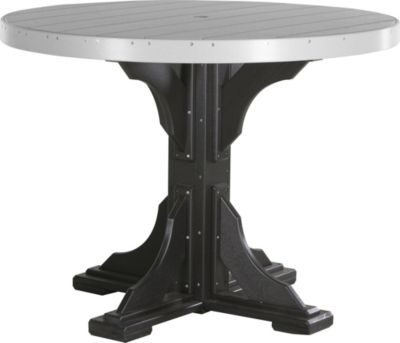 Amish Outdoors Gray and Black 4-Foot Round Counter Table