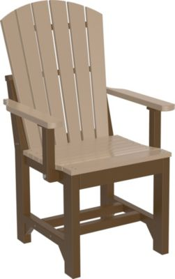 Amish Outdoors Island Adirondack Arm Chair Weatherwood/Chestnut